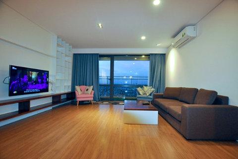 River view modern style furnishing apartment for rent in Mipec Long Bien, 3 bedrooms