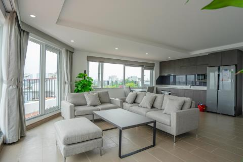 Beautiful lake view 2 bedroom apartment on the top floor with a huge balcony for rent in Tay Ho