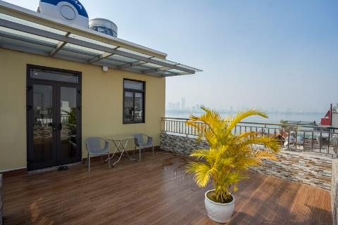 Lake view 1 bedroom apartment on the top floor with big balcony for rent in Tay Ho