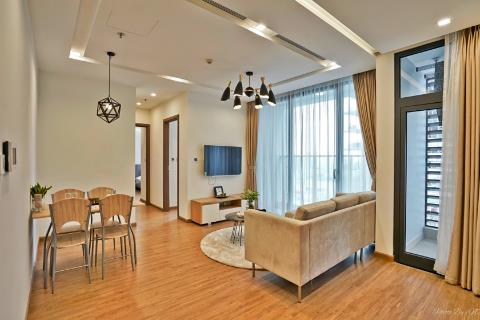 Beautiful 2 bedroom apartment with modern furniture for rent in Vinhomes Metropolis, Lieu Giai