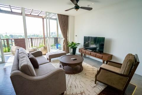 Lake view 3 bedroom apartment with a large balcony for rent on Xom Chua street, Tay Ho